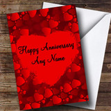 Red Love Hearts Customised Anniversary Card