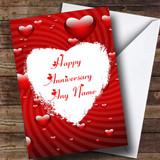 White Love Heart Customised Anniversary Card