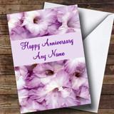 Stunning Purple Petals Customised Anniversary Card