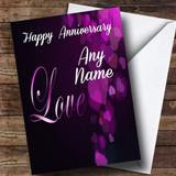 Gorgeous Purple Love Customised Anniversary Card