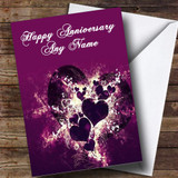Purple Hearts And Swirls Customised Anniversary Card