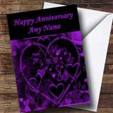 Purple And Black Love Heart Customised Anniversary Card