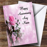 Pale Pretty Pink Rose Customised Anniversary Card