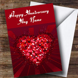 Pink And Red Love Hearts Customised Anniversary Card