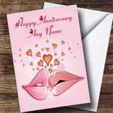 Pink Lips Customised Anniversary Card