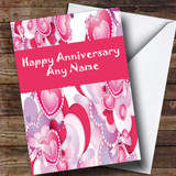 Pink And Lilac Hearts Customised Anniversary Card