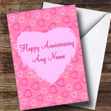 Pretty Pink Love Hearts Customised Anniversary Card