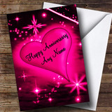Hot Pink Love Heart Customised Anniversary Card