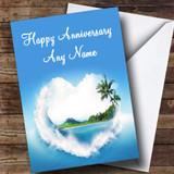 Palm Tree Love Beach Customised Anniversary Card