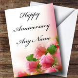 Cute Pink Roses Customised Anniversary Card
