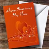 Orange Love Heart Customised Anniversary Card