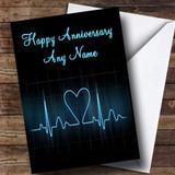 Heart Beat Monitor Customised Anniversary Card