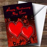 Red Diamond Heart Customised Anniversary Card