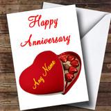 Heart Box Of Chocolates Customised Anniversary Card