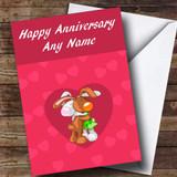 Cute Cuddling Rabbits Customised Anniversary Card