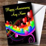 Rainbow And Hearts Customised Anniversary Card