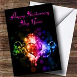 Colourful Love Heart Customised Anniversary Card