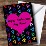 Multi-coloured Love Hearts Customised Anniversary Card
