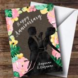 Floral & Dark Hessian Anniversary Customised Card