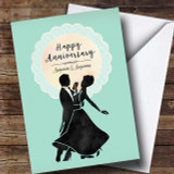 Mint Lace Silhouette Anniversary Customised Card
