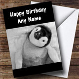 Adorable Baby Penguin Customised Birthday Card
