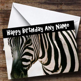 Zebra Close Up Customised Birthday Card