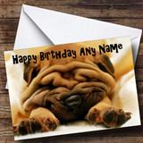 Shar Pei Dog Sleeping Customised Birthday Card