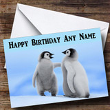 Two Penguins Customised Birthday Card