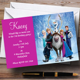 Frozen Pink Customised Children's Birthday Party Invitations