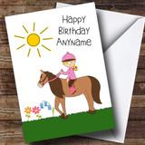 Pony Horse Riding Girl Customised Birthday Card