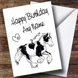 Piebald Gypsy Vanner Cob Horse Customised Birthday Card