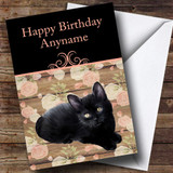 Beautiful Black Cat Floral Background Customised Birthday Card