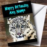 Stunning Snow Leopard Customised Birthday Card