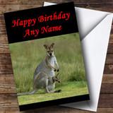 Kangaroo & Baby Customised Birthday Card