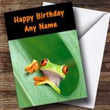Frog In A Leaf Customised Birthday Card