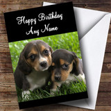 Cute Beagle Dog Puppies Customised Birthday Card