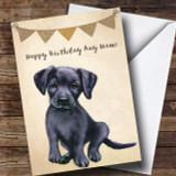 Vintage Burlap Bunting Dog Black Labrador Puppy Customised Birthday Card