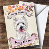 Rustic Gold Dog Westie West Highland Terrier Customised Birthday Card
