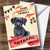 Watercolour Rustic Dog Black Labrador Puppy Customised Birthday Card