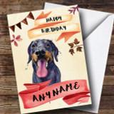Watercolour Rustic Dog Doberman Customised Birthday Card
