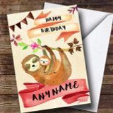 Watercolour Rustic Sloth & Baby Customised Birthday Card