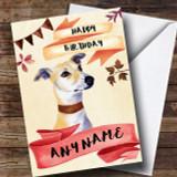 Watercolour Rustic Dog Lurcher Customised Birthday Card