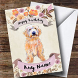 Rustic Gold Dog Labradoodle Customised Birthday Card