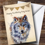 Vintage Burlap Bunting Wolf Customised Birthday Card