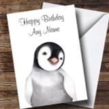 Cute Watercolour Penguin Customised Birthday Card