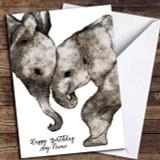 Watercolour Elephants Simple Customised Birthday Card