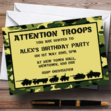 Army Troops Camouflage Customised Birthday Party Invitations