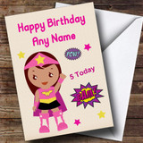 Superhero Pink Girl Any Age Customised Children's Birthday Card