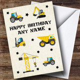 Digger Trucks Tractors Construction Cute Customised Children's Birthday Card