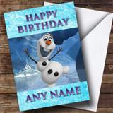 Frozen Snowman Olaf Customised Birthday Card